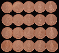 "Lot of (20) 1 Ounce .999 Fine Copper ""Merry Christmas"" Bullion Rounds at PristineAuction.com"