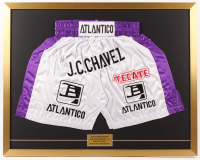 Julio Cesar Chavez Signed 27x34 Custom Framed Boxing Trunks Display (JSA COA)