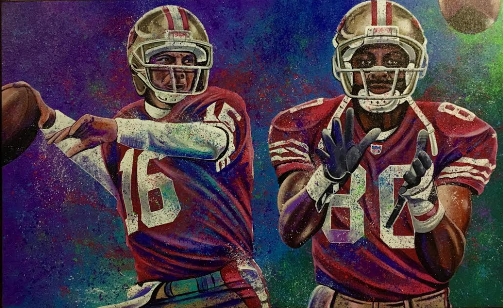 "Bill Lopa Signed ""Joe Montana & Jerry Rice"" Limited Edition 27x30 Hand-Embellished Giclee on Canvas (PA LOA) at PristineAuction.com"
