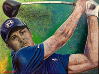 """Bill Lopa Signed """"Jordan Spieth"""" Limited Edition 30x40 Hand-Embellished Giclee on Canvas (PA LOA)"""