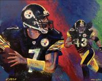"Bill Lopa Signed ""Ben Roethlisberger & Troy Polamalu"" Limited Edition 31x40 Hand-Embellished Giclee on Canvas (PA LOA)"