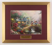 "Thomas Kinkade Walt Disney's ""Mickey & Minnie"" 15.5x18 Custom Framed Print"