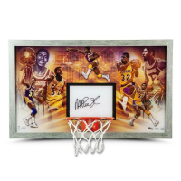"Magic Johnson Signed LE Los Angeles Lakers ""Champion"" 18.5x30.5 Custom Framed Backboard Display (UDA COA) at PristineAuction.com"