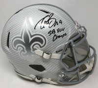 "Drew Brees Signed New Orleans Saints Full-Size Authentic On-Field Hydro Dipped Speed Helmet with Visor Inscribed ""SB XLIV Champs"" (Steiner COA) at PristineAuction.com"