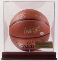 Magic Johnson & Larry Bird Signed NBA Logo Basketball with Display Case (PSA COA)
