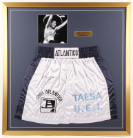 Julio Cesar Chavez Signed 33x34 Custom Framed Boxing Trunks Display (JSA COA)