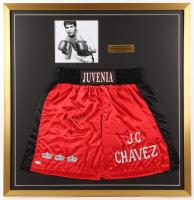 Julio Cesar Chavez Signed 33x34 Custom Framed Boxing Trunks Display (JSA COA)