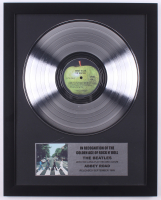 """The Beatles Custom Framed 15.75x19.75 Silver Plated """"Abbey Road"""" Record Album Award Display"""