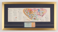 Disneyland 15x28.5 Custom Framed Vintage 1963 Map Display with Vintage Ticket Booklet