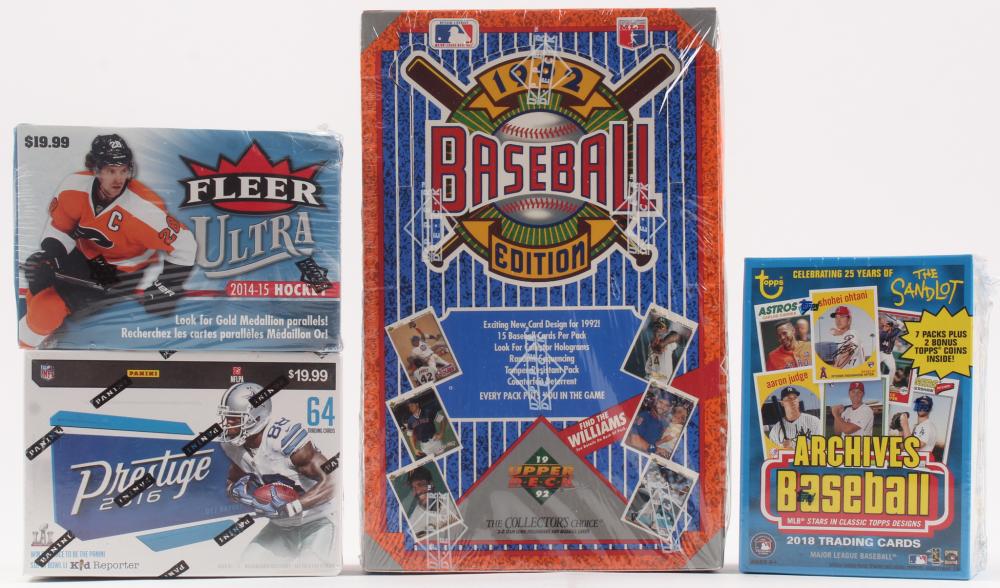 Lot of (4) Card Sets with 1992 Upper Deck Baseball Hobby Box, 2014-15 Fleer Ultra Hockey Box, 2016 Panini Prestige Football Box, & 2018 Topps Archives Baseball Box at PristineAuction.com