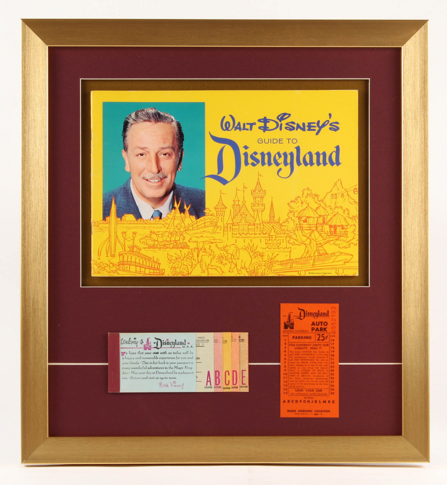Disneyland 17.5x19 Custom Framed Vintage 1963 Guide Book Display with Ticket Booklet & Parking Pass at PristineAuction.com