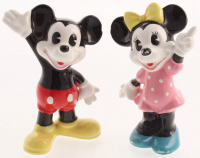 Vintage 1970's Disney Ceramic Mickey Mouse & Minnie Mouse Figurines