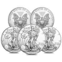 Lot of (5) 2019 $1 American Eagle Silver Dollar $1 Coins (Brilliant Uncirculated) at PristineAuction.com