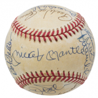 OAL Baseball Signed by (20) with Mickey Mantle, Whitey Ford, Jim Palmer, Red Schoendienst, Bob Lemon, Luis Aparicio, Stan Musial, Hoyt Wilhelm (Beckett LOA)
