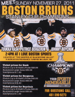Tuukka Rask, Patrice Bergeron & Johnny Boychuk Signed Boston Bruins 20x26 Poster Board (YSMS COA)
