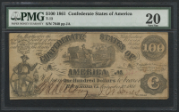 1861 $100 One Hundred Dollars Confederate States of America Richmond CSA Bank Note Bill (T-13) (PMG 20) at PristineAuction.com