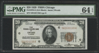 1929 $20 Twenty Dollars U.S. National Currency Bank Note - FRBN Chicago (PMG 64) (EPQ)