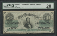 1862 $50 Fifty Dollars Confederate States of America Richmond CSA Bank Note (T-50) (PMG 20)
