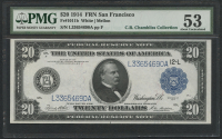 1914 $20 Twenty Dollars Federal Reserve Large Size Bank Note - FRN - San Francisco (PMG 53) at PristineAuction.com