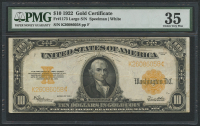 1922 $10 Ten Dollars U.S. Gold Certificate Large Size Bank Note (PMG 35)