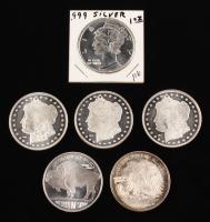 Lot of (6) One Ounce Silver Coins with (3) Morgan Silver Dollar COPY Coin, 2012 American Buffalo Coin, Liberty Coin, Liberty Silver Eagle