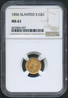 1856 $1 One Dollar Liberty Head Gold Coin - Slanted 5 (NGC MS 61)