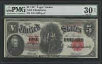 1907 $5 Five Dollars Legal Tender Large Bank Note (PMG 30) (EPQ)