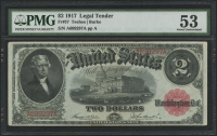1917 $2 Two Dollars Legal Tender Large Bank Note (PMG 53)