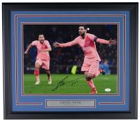 """Lionel Messi Signed FC Barcelona 18x24 Custom Framed Photo Display Inscribed """"Leo"""" (Messi & JSA COA)"""