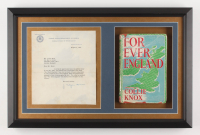 J. Edgar Hoover 15x23 Custom Framed Display with (1) Letter & (1) Book (JSA COA)
