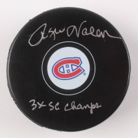 "Rogie Vachon Signed Montreal Canadiens Logo Hockey Puck Inscribed ""3x SC Champs"" (Schwartz COA)"