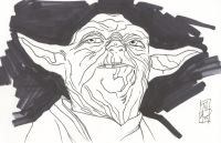 """Tom Hodges - Yoda - """"Star Wars"""" - Signed ORIGINAL 5.5"""" x 8.5"""" Drawing on Paper (1/1)"""