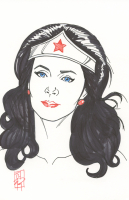 "Tom Hodges - Wonder Woman - Lynda Carter - DC Comics - Signed ORIGINAL 5.5"" x 8.5"" Drawing on Paper (1/1)"