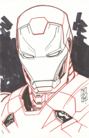 """Tom Hodges - Iron Man - The Avengers - Marvel Comics - Signed ORIGINAL 5.5"""" x 8.5"""" Drawing on Paper (1/1)"""