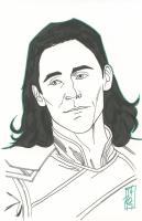 "Tom Hodges - Loki - Marvel Comics - Signed ORIGINAL 5.5"" x 8.5"" Drawing on Paper (1/1)"