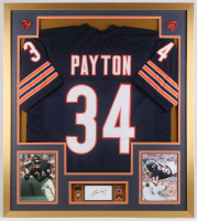 Walter Payton Signed Chicago Bears 32x36 Custom Framed Cut Display With (4) Pins (PSA)
