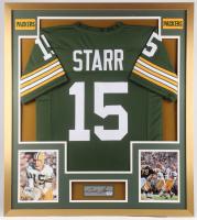Bart Starr Signed Green Bay Packers 32x36 Custom Framed Cut Display (PSA LOA)
