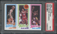 1980-81 Topps #6 34 Larry Bird RC / 174 Julius Erving TL / 139 Magic Johnson RC (PSA 7)