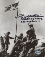 "Hershel W. Williams Signed ""Raising the Flag on Iwo Jima"" 8x10 Photo Inscribed ""Medal of Honor"" & ""Iwo Jima"" (Beckett COA)"