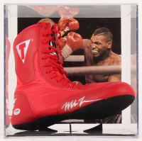 Mike Tyson Signed Title Boxing Shoe with Display Case (PSA COA)