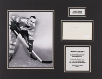 King Clancy Signed Toronto Maple Leafs 14x18 Custom Matted Index Card Display with Photo (JSA LOA)