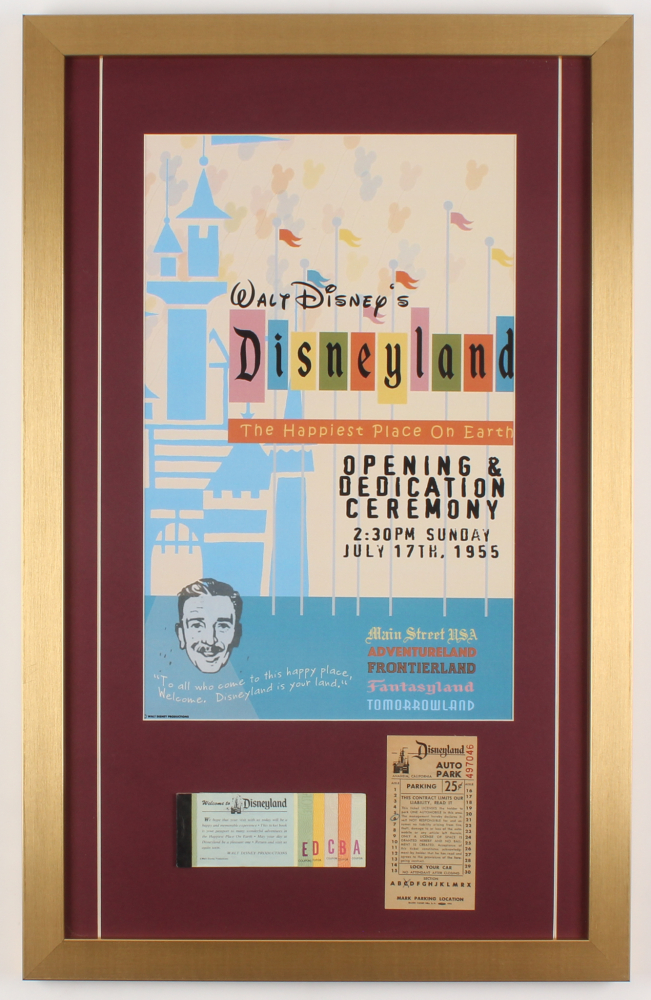 Disneyland 17x27 Custom Framed Poster Print Display with Ticket Booklet & Parking Pass at PristineAuction.com