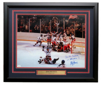 """Mike Eruzione Signed Team USA """"Miracle on Ice"""" 22x27 Custom Framed Photo Display Inscribed """"Do You Believe in Miracles?"""" (JSA COA)"""