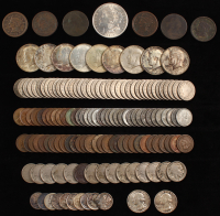 Lot of (146) U.S. Coins with 1802 Draped Bust Cent, 1921 Morgan Silver Dollar, (4) Braided Hair Cents, (9) Kennedy Half Dollars & More
