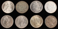 Lot of (8) Silver Dollars with (6) Morgan & (2) Peace