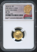 2016-W Gold Mercury Dime 1/10 Oz Gold Coin (NGC SP 70) (Early Releases) (100th Anniversary Label)