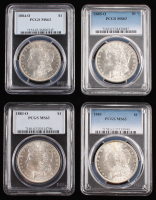 Lot of (4) PCGS Graded (MS63) Morgan Silver Dollars with 1883-O, 1884-O, 1885-O & 1885
