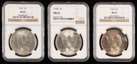 Lot of (3) NGC Graded (MS63) Peace Silver Dollars with 1923, 1924, & 1925