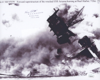 "Kenneth Potts signed WWII Pearl Harbor 8x10 Photo Inscribed ""U.S. Arizona Survivor 12-2-1941"" (JSA COA)"