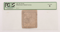 1776 Three Pence Pennsylvania Colonial Currency Note (PCGS 8)